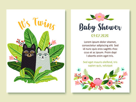 Baby Shower invitation card design with cute cats and floral elements. It's twins theme. Set of adorable kitten, flowers, tropical leaves. Vector illustration