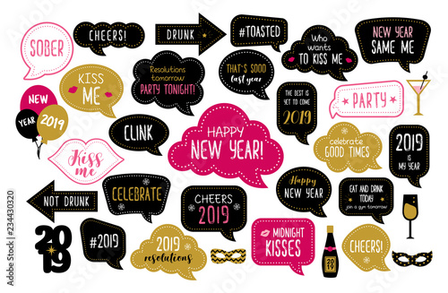 Happy New Year 2019 Photo Booth Props Stock Image And Royalty Free