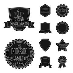 Vector illustration of emblem and badge symbol. Collection of emblem and sticker vector icon for stock.
