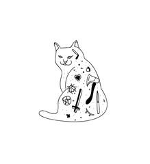 tattooed cat