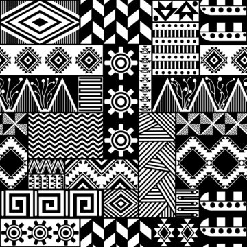 Seamless vector pattern in the ethnic style. Repeating tribal texture. Black and white ethnic ornaments. Geometric seamless background.