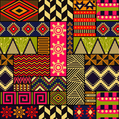 Seamless vector ethnic pattern. Repeating tribal texture. Boho fashion. Colorful geometric ornaments. Can be used for background, textile, coloring book, cover, gift wrap, graphic elements, etc
