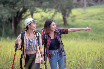 group asian backpack travel enjoy with sky background in nature rice farm, her is feeling relaxed and happy in the meanwhile; Relaxed and happy concept.