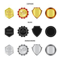 Vector illustration of emblem and badge symbol. Collection of emblem and sticker stock vector illustration.