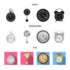 Isolated object of clock and time symbol. Set of clock and circle stock vector illustration.