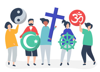 People holding diverse religious symbols illustration