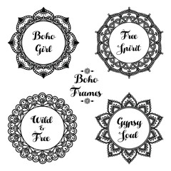 Set of ornamental boho frames. Indian henna tattoo design. Round pattern. Hand drawn ethnic ornament on white background. Floral mehndi collection. Vector illustration