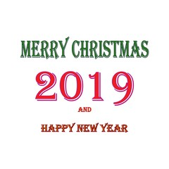 Merry Christmas and Happy New Year lettering and 2019 on white background. Fashion graphic background design. Modern abstract texture. Colorful template for prints, card, poster. Vector illustration