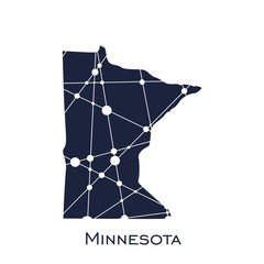 Image relative to USA travel. Minnesota state map textured by lines and dots pattern