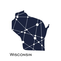 Image relative to USA travel. Wisconsin state map textured by lines and dots pattern