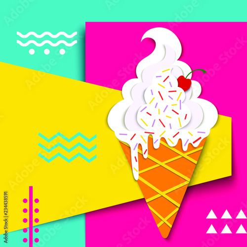 Vector Delicious Ice Cream In Bright Colors Summer Background