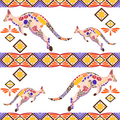 Seamless kangaroo pattern made from flowers, leaves in the ethnic style. Animal print. Arabic, indian, african motif for background, wallpaper, pattern fills, wrapping paper, fabric, etc. Vector