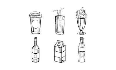 Collection of beverages, soda drink, milkshake, paper box of milk, juice hand drawn vector Illustration on a white background
