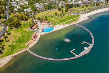 Aerial photo of a swimming enclosure at Geelong, Australia