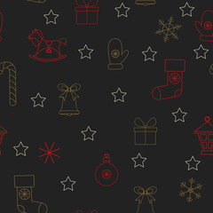 Black abstract seamless pattern for Christmas and New Year decoration.