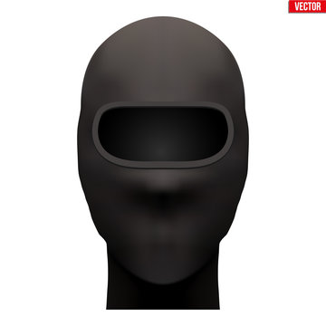 Balaclava SKI mask. Symbol of criminal and hacker. Also Equipment for special forces or winter sport. Black color. Front view. Vector illustration Isolated on white background.