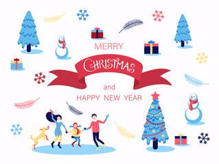 Merry Christmas and Happy New Year card with Christmas tree, family and gifts.