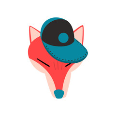 Fox wearing baseball cap, animal portrait cartoon vector Illustration on a white background