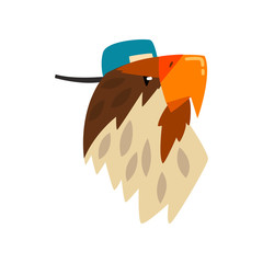 Eagle wearing baseball cap, bird portrait cartoon vector Illustration on a white background