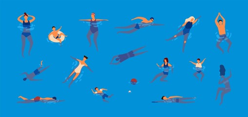 Collection of people dressed in swimwear in swimming pool. Bundle of men and women in swimsuits performing water activities. Set of swimmers. Colorful vector illustration in flat cartoon style.