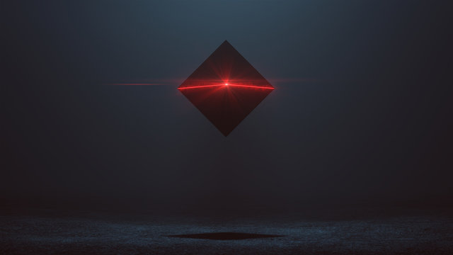 Futuristic Abstract Alien Tetrahedron  AI Super Computer Droid with Glowing Lens Flare 3d illustration 3d render