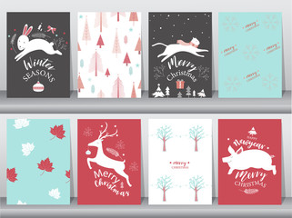 Set of cute Merry christmas  background with cute animal and christmas Tree,Lovely cartoon background with holiday symbols,Vector illustrations