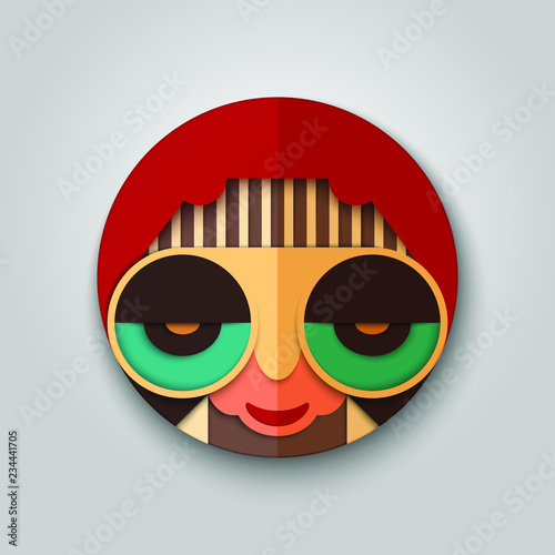 24718d1889 Fashion hipster icon in mask design. Hippie with sunglasses and retro  haircut. Stylish vector man