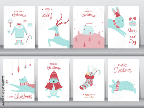Set Of Cute Merry Christmas Background With Cute Animal And