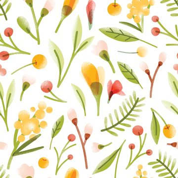 Botanical seamless pattern with translucent blooming summer flowers, berries, leaves scattered on white background