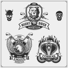 Set of Moto club emblems, labels and design elements. Emblems with bulldog, eagle and cobra.