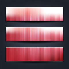 Set of Horizontal Banner or Header Designs for Your Business with Red and White Striped Patterned Background