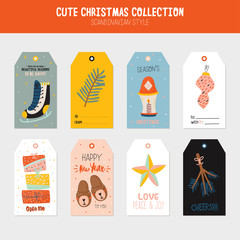 Collection of Christmas gift tags and labels templates. Happy New Year cheerful lettering. Lovely winter illustration with cute and character traditional elements in scandinavian style. Vector