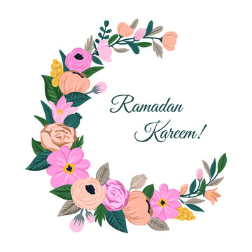 Ramadan Kareem greeting background with crescent moon decorated with flowers, leaves. Floral print in the form of moon. Vector hand drawn card, poster, banner for Islamic Holy Month