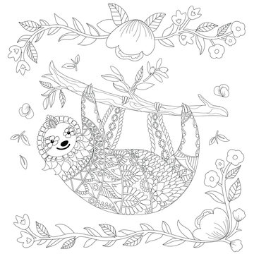 Vector ornate cute sloth on the tree, coloring page design. Animal coloring book for adult. Zentangle sloth print with floral and geometric elements