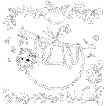 Vector ornate cute sloth on the tree, coloring page. Animal coloring book design. Hand drawn zentangle sloth print with floral and geometric elements. Black line art isolated on white background