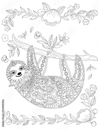 Vector Ornate Cute Sloth On The Tree Coloring Page Design Hand