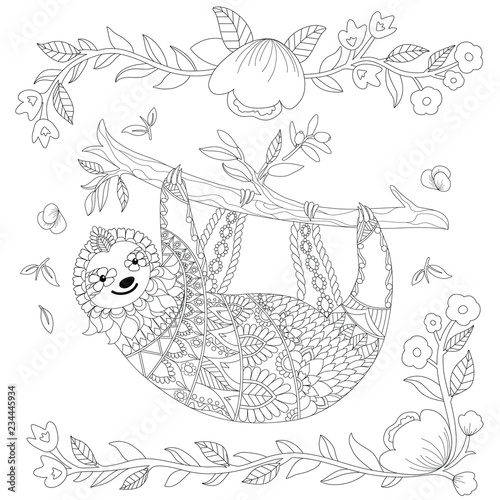 Vector ornate cute sloth on the tree, coloring page design ...