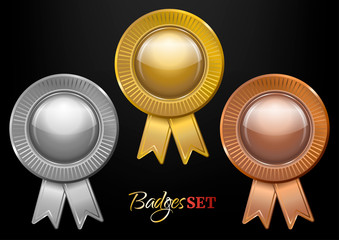 Set of gold, silver and bronze badges with ribbons on black background.  Blank medals set. Insignias. Vector illustration.