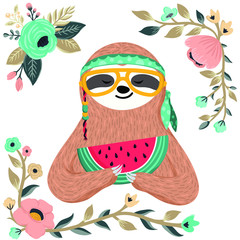 Cute baby sloth eating watermelon. Hipster animal wearing glasses and bandana. Funny hippie sloth holding watermelon slice. Vector art