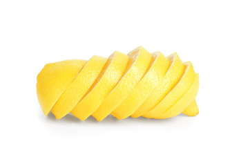 Sliced ripe juicy lemon on white background