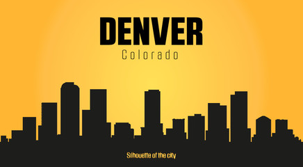 Denver Colorado city silhouette and yellow background