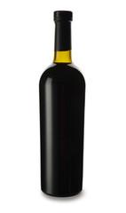 Bottle of tasty wine on white background