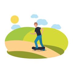 man practicing skateboarding on park
