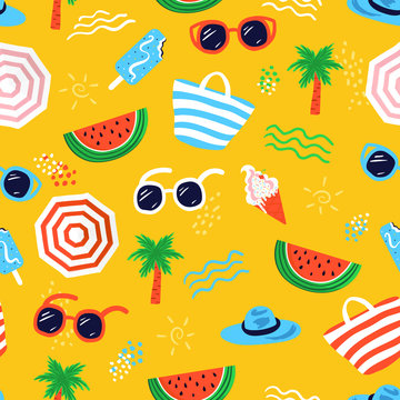 Colorful seamless summer pattern with hand drawn beach elements such as sunglasses, palm, watermelon slice, tote bag, umbrella, ice cream, waves, sand. Fashion print design, vector illustration