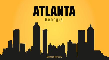 Atlanta Georgia city silhouette and yellow background