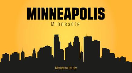 Minneapolis Minnesota city silhouette and yellow background