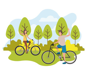 young couple in bicycle characters