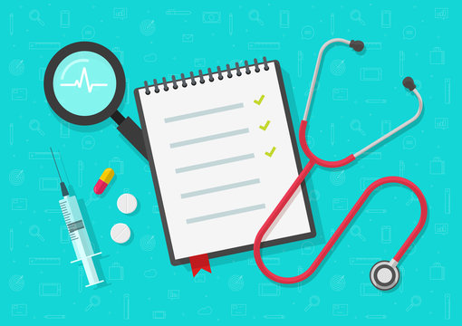 Medical checklist vector, flat cartoon health or medical notepad or notebook document on work desk top view with checkmarks, concept of medicine check list, approved good test analyze results
