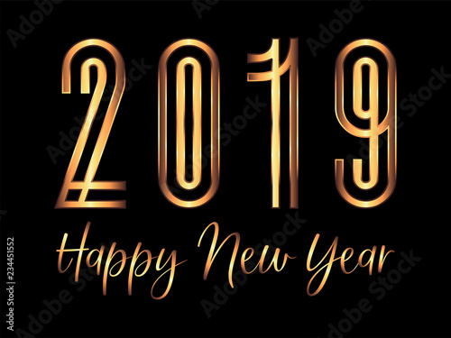 golden art deco 2019 happy new year card