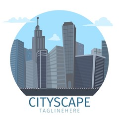 Vector drawing image of the cityscape background
